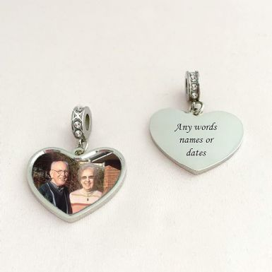 Photo Heart Charm for European Bracelets| Someone Remembered